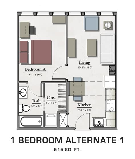 1 bedroom student apartments 1 bedroom alternate 1 hannah lofts and townhomes