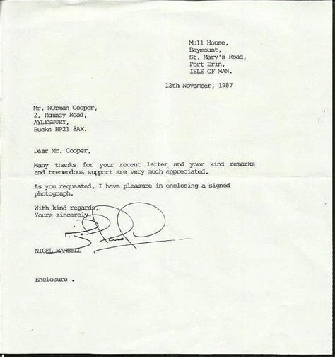 Letter Request Signature Sle Nigel Mansell Typed And Signed Letter Dated November 1