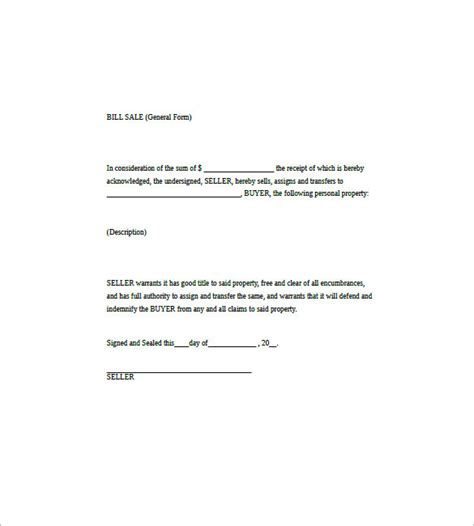 free generic bill of sale template general bill of sale 14 free word excel pdf format