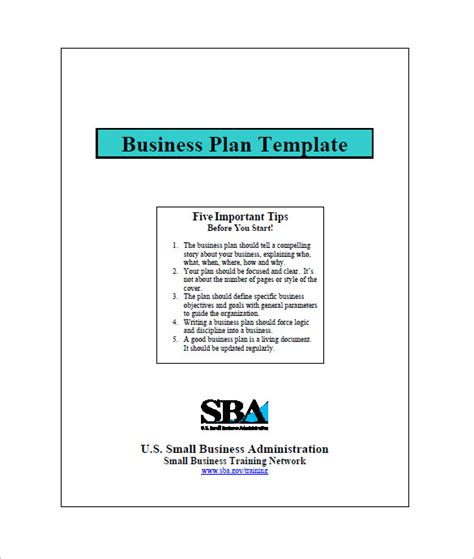 business plan template sba small business plan template 12 free word excel pdf