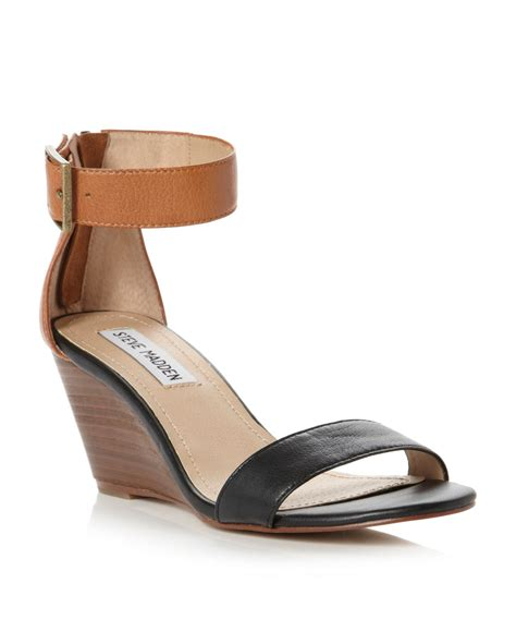 low wedge ankle sandals lyst steve madden nanncy ankle low wedge sandals