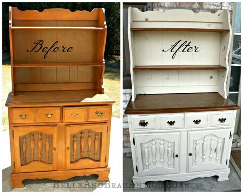 painted furniture ideas before and after before after painted wood hutch painted furniture