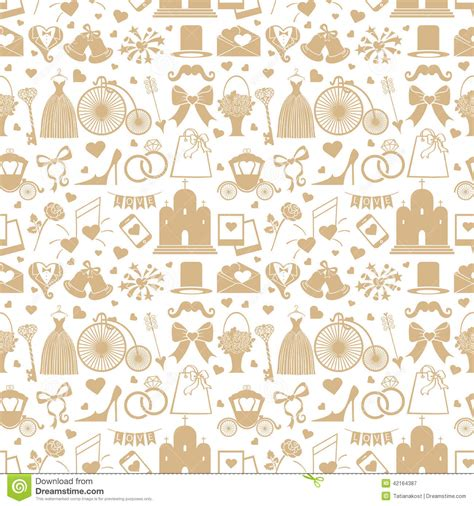 pattern wedding vector wedding flat design elements in seamless pattern stock
