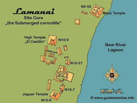 mayan ruins map lamanai site in belize the submerged crocodile