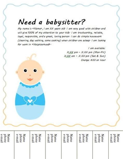babysitting template baby tear babysitting flyer random