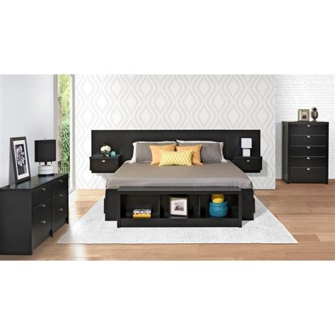 cymax headboards floating panel headboard with nightstands in black bhhx