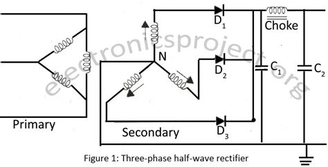 3 phase rectifier using diodes three phase half wave rectifier electronics project