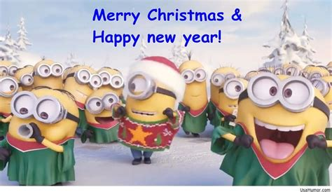 christmas minions wishing happy  year  happy  year merry christmas minions