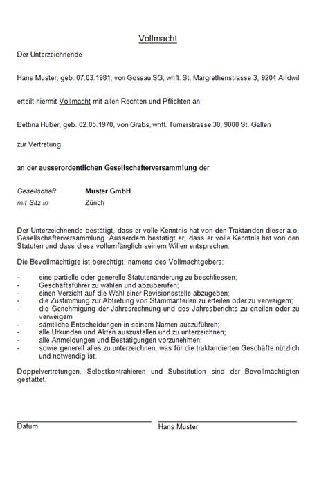 Muster Vollmacht Schweiz Vollmacht Gesellschafterversammlung Muster Zum