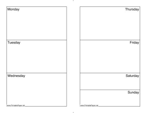 Weekly Calendar Monday Through Sunday Calendar Free Monday Through Friday Calendar Template