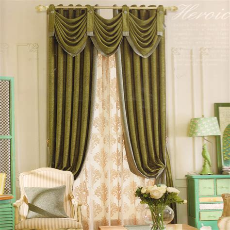 valance drapes dark green living room curtain ideas chenille no valance