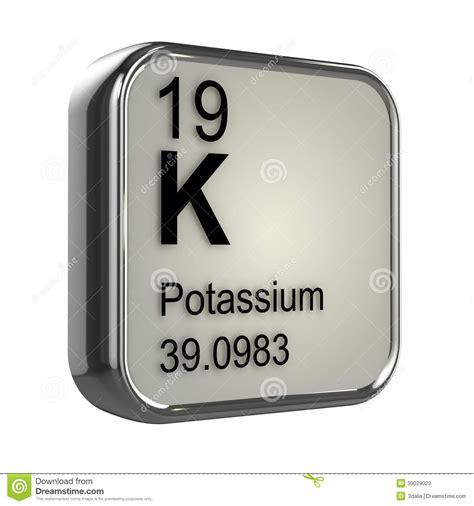 potassio tavola periodica elemento potassio 3d illustrazione di stock immagine