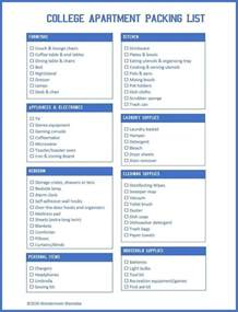 printable college apartment packing list