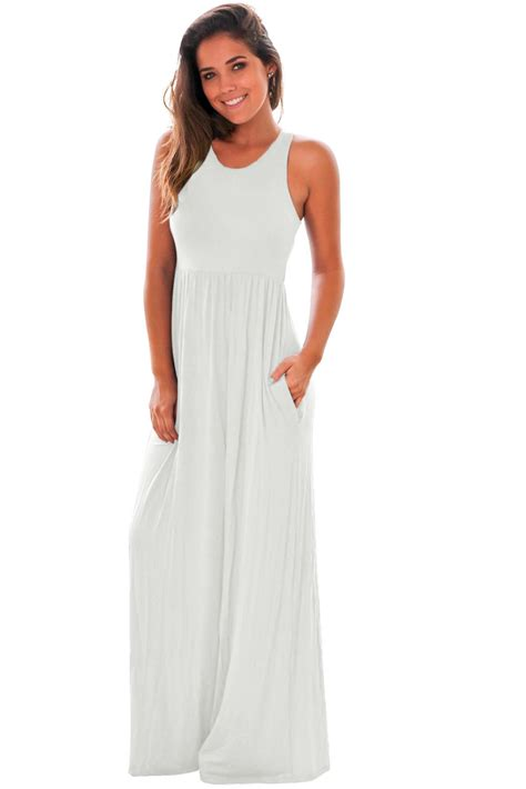 New Maxi Dress White new in white racerback maxi dress with pockets