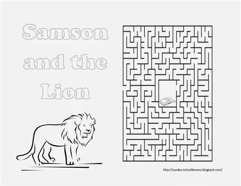 school coloring pages games free samson and the lion maze sunday school activity