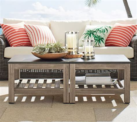 bunching coffee tables connor outdoor bunching coffee table pottery barn