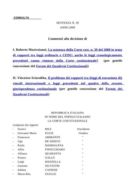 dispensa diritto costituzionale lesione diritti della persona c cost n 39 08 dispense