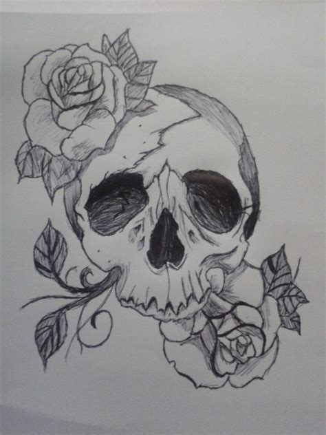 skull and roses tattoo drawing by heartsxxemma on deviantart
