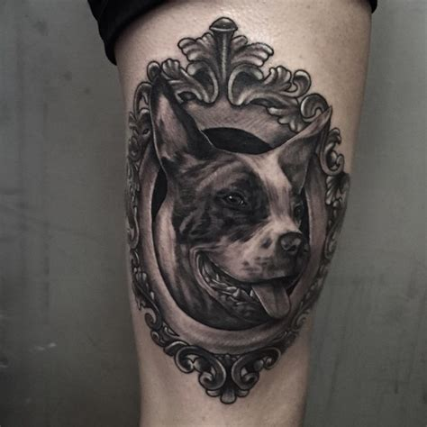framed dog tattoo on thigh best tattoo ideas gallery
