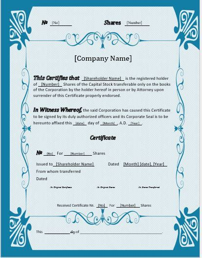 Stock Certificates 2018 Templates For Ms Word Word Excel Templates Stock Certificate Template Microsoft Word