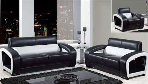 global furniture black and white leather modern sofa
