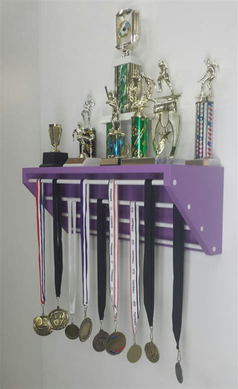Gymnastics Trophy And Medal Shelf purple trendy trophy display display for medals and