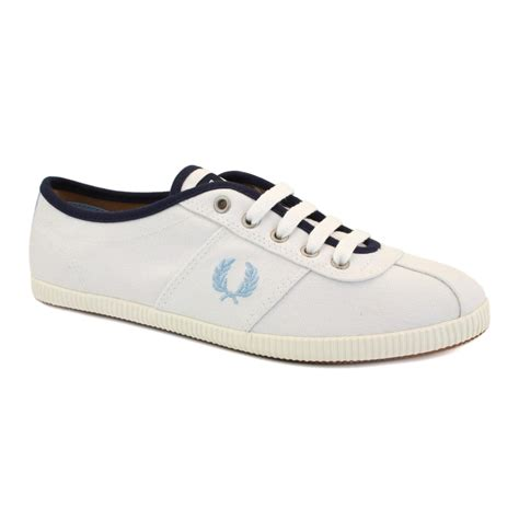 fred perry b2179w womens laced canvas trainers shoes