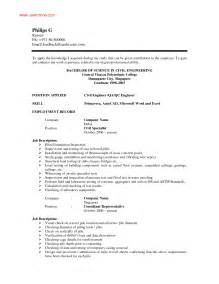 sle resume for civil site engineer civil engineer resume exle resume format pdf