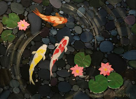koi pond painting by queennee lunceford