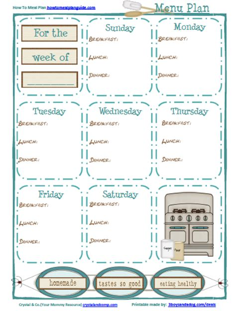 printable meal plan dinner free meal planning printable for breakfast lunch and