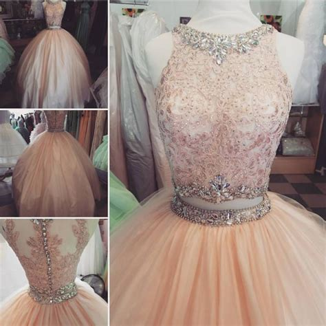 Lace Pink Crop Top Skirt Gaun Malam Dress Baju Pesta Import lace crop top pink tulle gown quinceanera dresses two pie alinanova
