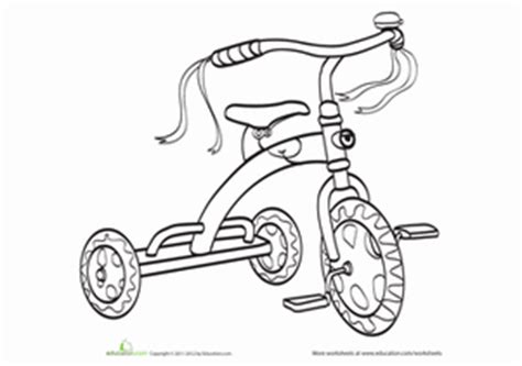 tricycle coloring pages preschool tricycle worksheet education com