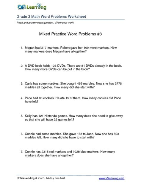 3rd Grade Math Word Problems Worksheets by 3rd Grade Math Word Problems Worksheets Collection