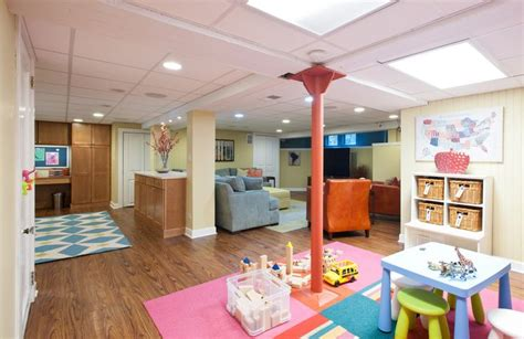 basement living room basement play area bright playful
