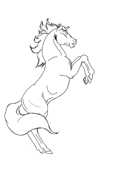 rearing horse lineart by allisondellue on deviantart
