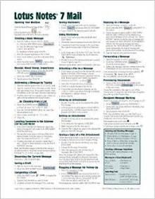 Lotus Notes Keyboard Shortcuts Lotus Notes 7 Mail Reference Guide Sheet Of