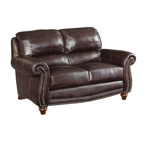 burgundy loveseat coaster lockhart leather loveseat in burgundy brown 504692