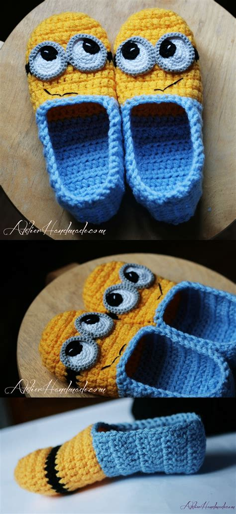 knitted minion slippers minion slippers yellow and blue pattern by atelier