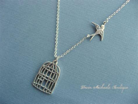 Bird Pendant Necklace graduation necklace be free bird necklace cage pendant bird