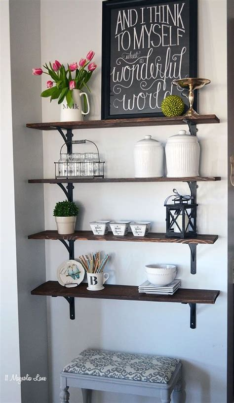 hometalk diy stained open shelving for the kitchen