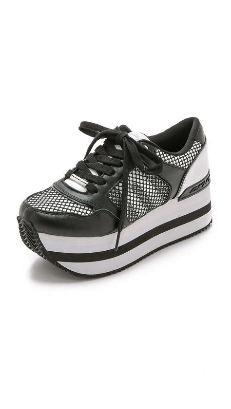 dkny platform sneakers dkny platform sneakers white black in white lyst