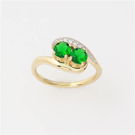 gold silver two simulated emerald ring