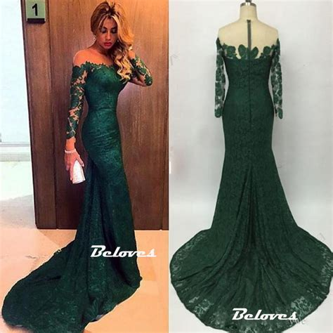 dark green boat neck dress dark green illusion off the shoulder lace mermaid prom