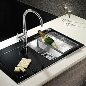 Black Stainless Steel Kitchen Sink Pyramis Crystalon 1 0 Bowl Black Glass Stainless Steel