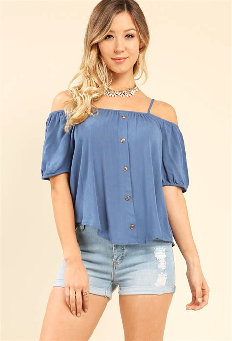 Open Shoulder Top crinkled button detail open shoulder top shop tops