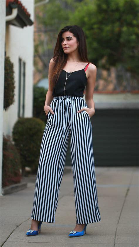 pant leg style black and white striped wide leg pants pi pants