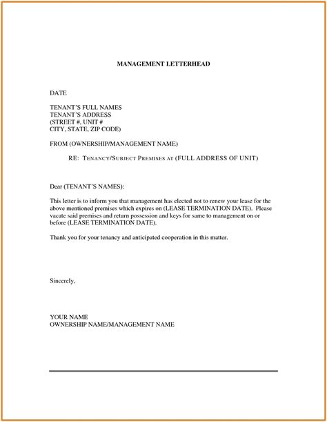 Non Renewal Of Lease Letter Template