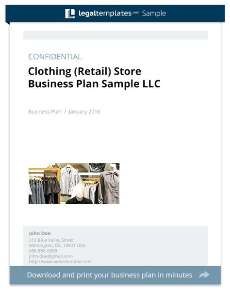 clothing retail store business plan sle legal templates