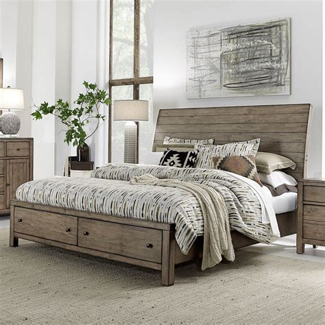 Gray Wooden Sleigh Bed With Storage Drawers ? Railing Stairs And Kitchen Design : Useful Wooden