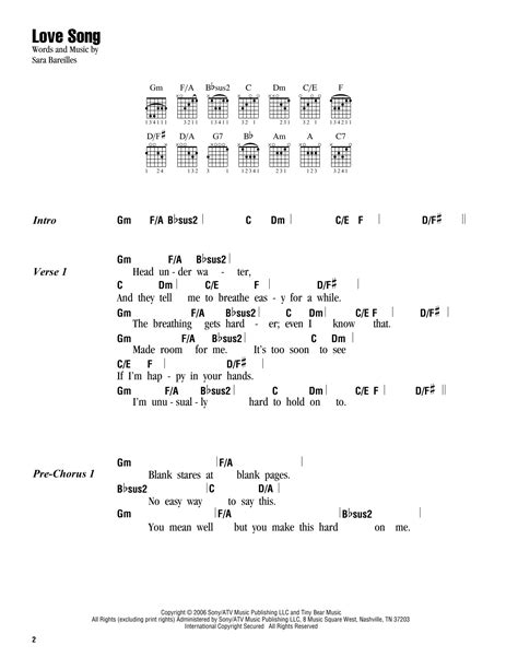 song tab song by bareilles guitar chords lyrics